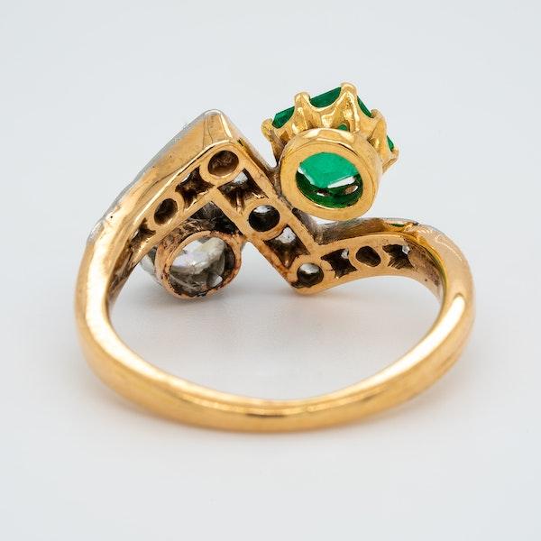 Deco Emerald and Diamond Zig Zag Stylised Ring - image 4