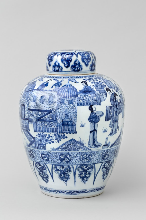 A CHINESE BLUE AND WHITE KANGXI 'LADIES' JAR AND COVER - image 1