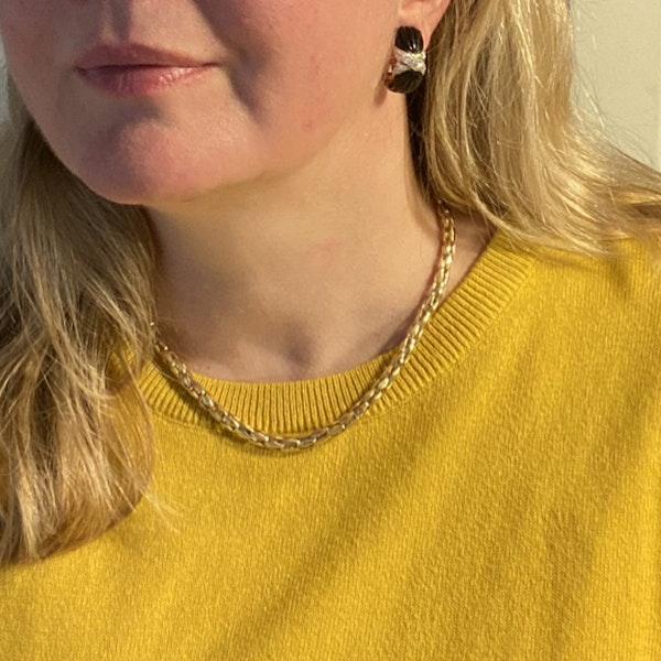 1970's 18ct Yellow Gold Onyx & Diamond stone set Clip Earrings, SHAPIRO & Co - image 3
