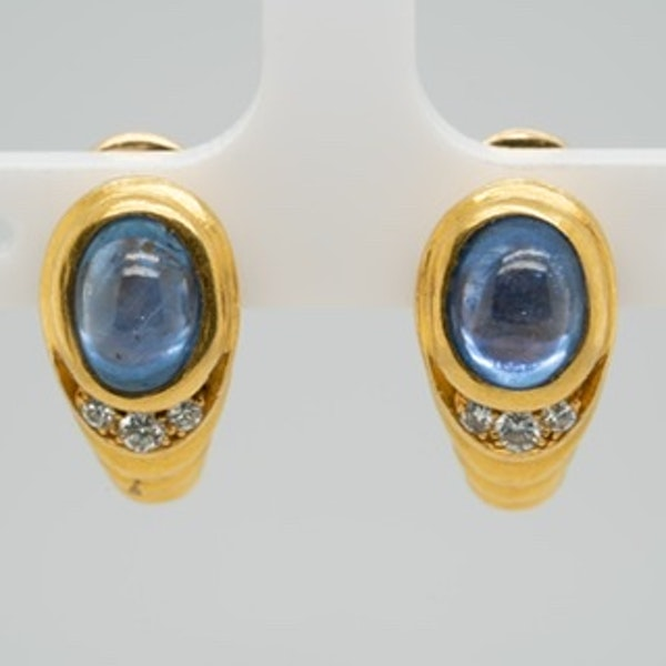 A pair of Bvlgari cabochon sapphire earrings - image 1