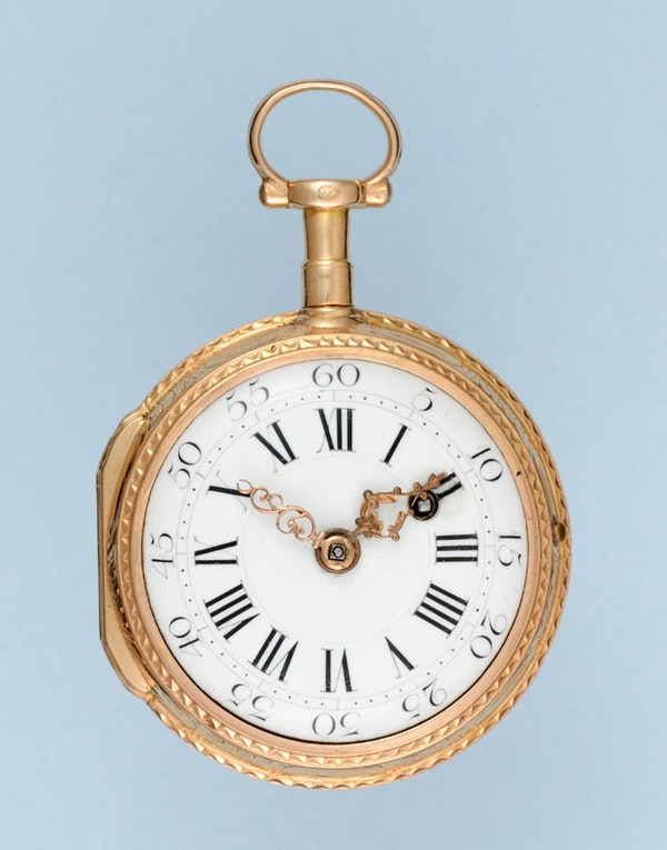 GOLD AND ENAMEL POCKET WATCH WITH RARE BALLOONING SCENE - image 3