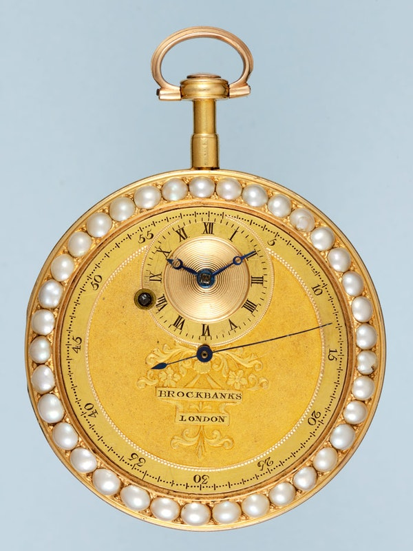 UNUSUAL GOLD AND ENAMEL CYLINDER POCKET WATCH BY BROCKBANKS - image 2