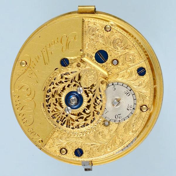 UNUSUAL GOLD AND ENAMEL CYLINDER POCKET WATCH BY BROCKBANKS - image 3