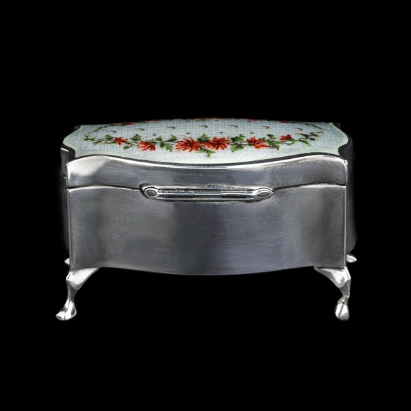 A silver and enamel jewellery box on feet - image 2