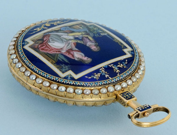 PEARL SET GOLD AND ENAMEL WATCH - image 3