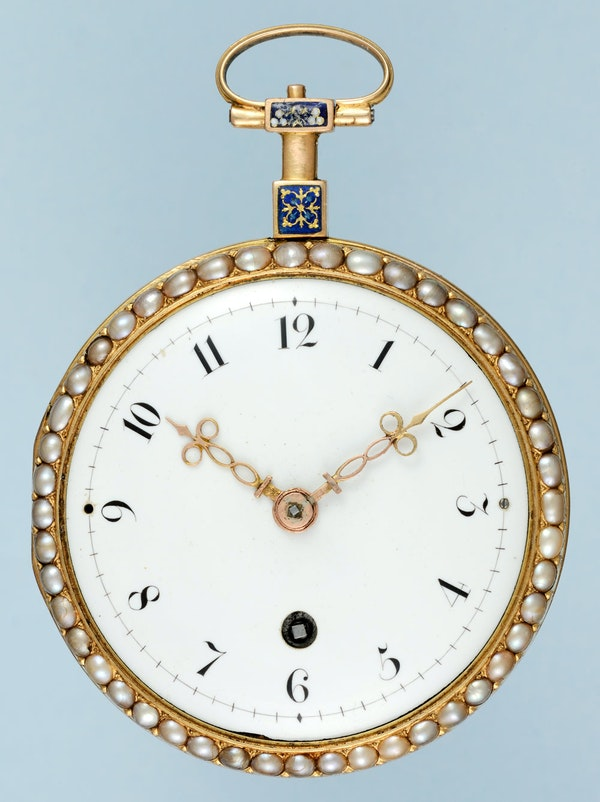PEARL SET GOLD AND ENAMEL WATCH - image 4
