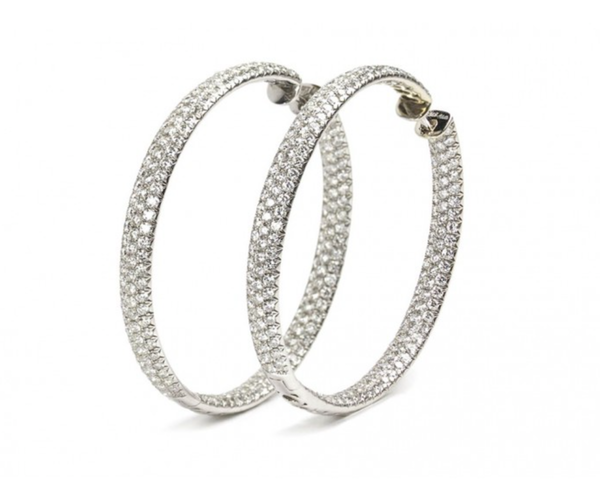 Diamond And White Gold Hoop Earrings, 14.00ct - image 1