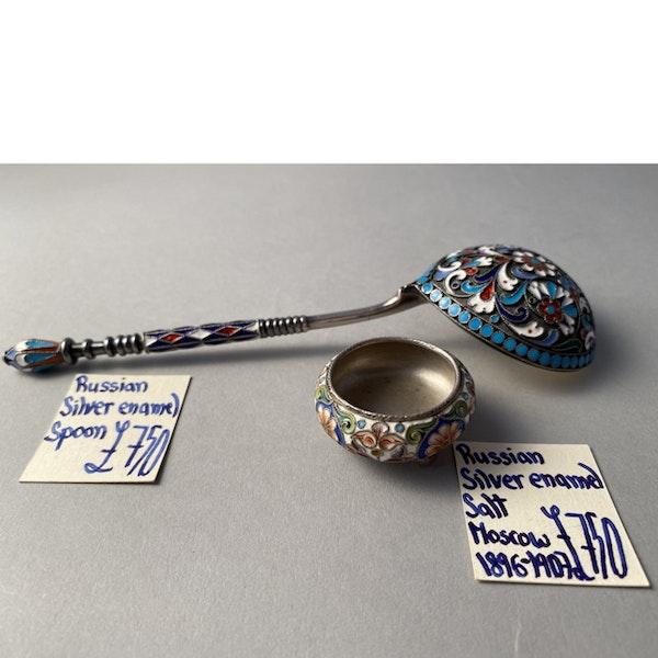 Moscow 1896-1907, Russian Silver Enamel Spoon, SHAPIRO & Co - image 5