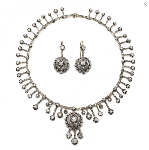 Antique Diamond Silver And Gold Necklace And Earrings Suite, Circa 1880 - image 1