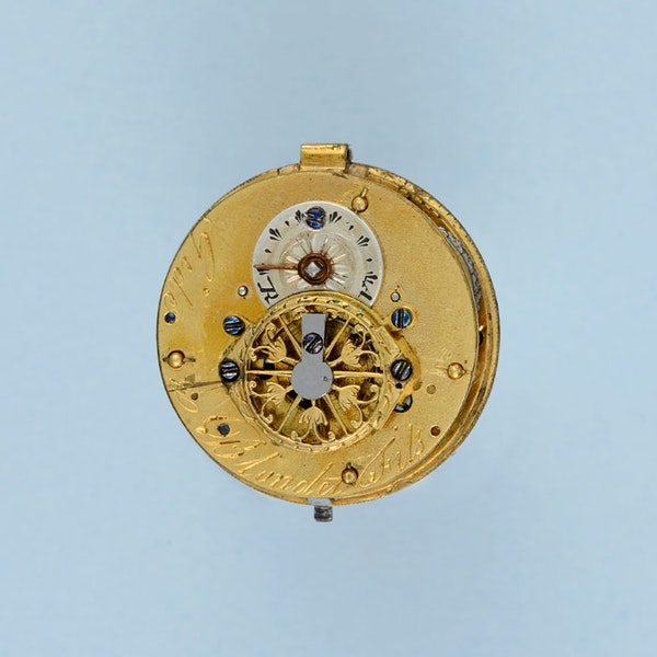 GOLD AND ENAMEL VERGE BALL WATCH AND CHAIN - image 2