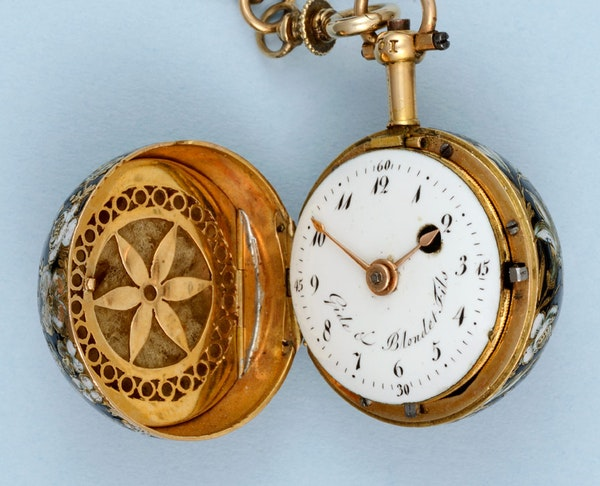 GOLD AND ENAMEL VERGE BALL WATCH AND CHAIN - image 3