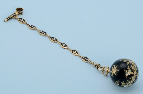 GOLD AND ENAMEL VERGE BALL WATCH AND CHAIN - image 4