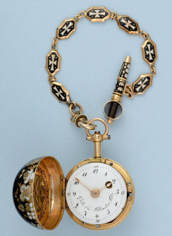 GOLD AND ENAMEL VERGE BALL WATCH AND CHAIN - image 5