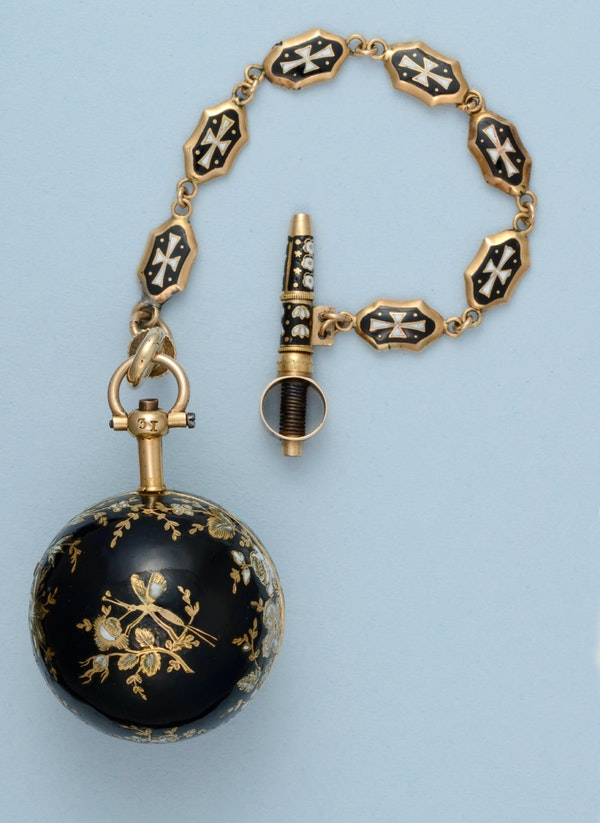 GOLD AND ENAMEL VERGE BALL WATCH AND CHAIN - image 6