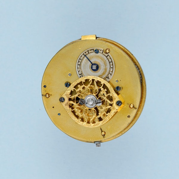 PEARL SET GOLD AND ENAMEL PENDANT WATCH - image 2