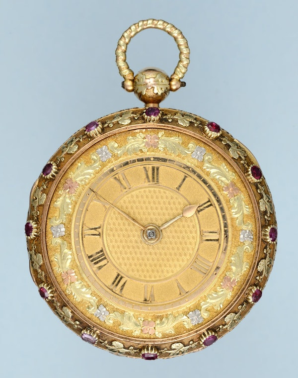 RUBY SET THREE COLOUR GOLD WATCH - image 5