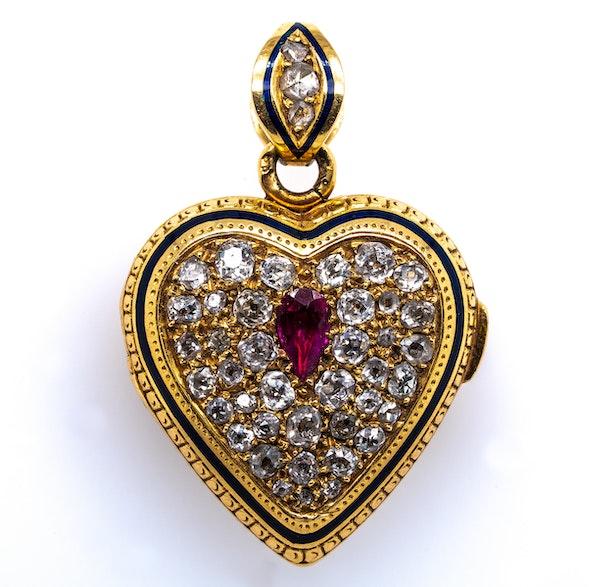 Ruby diamond heart vinaigrette pendant - image 1