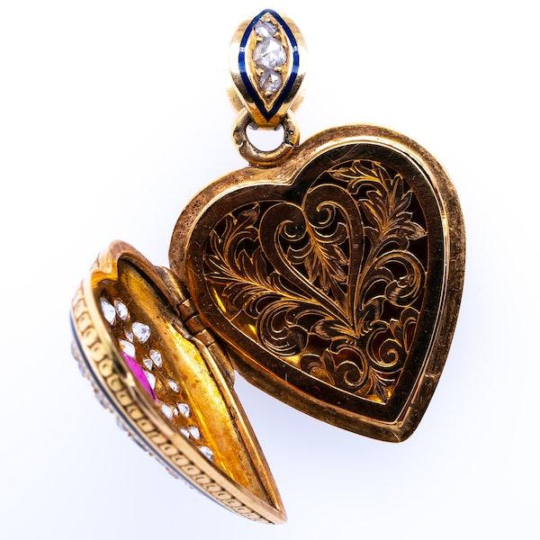 Ruby diamond heart vinaigrette pendant - image 2
