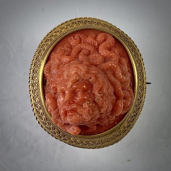 Coral cameo brooch - image 2