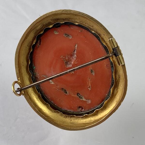 Coral cameo brooch - image 4