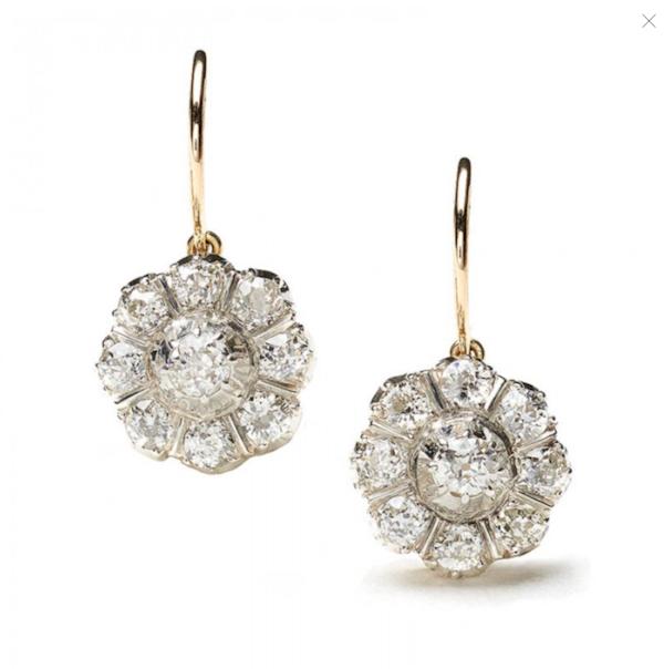 Antique Diamond Cluster Drop Earrings - image 1
