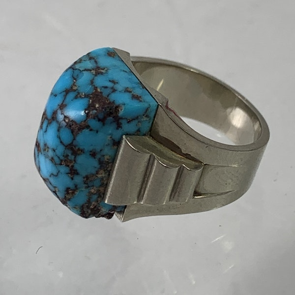1930 white gold and turquoise ring - image 2