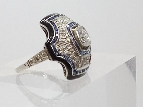 Deco Domed Sapphire and Diamond Sunburst Ring - image 2