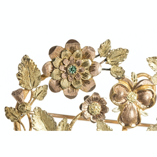 Late Georgian Three Colour Gold Floral Brooch with Ruby & Emerald, English circa 1825. - image 3