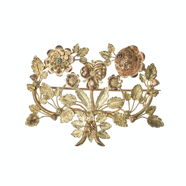 Late Georgian Three Colour Gold Floral Brooch with Ruby & Emerald, English circa 1825. - image 1