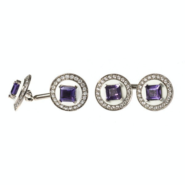 Vintage Cufflinks in White 18 Carat Gold with Amethyst Centre & Diamonds, English circa 1950. - image 4