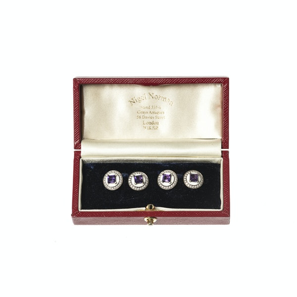 Vintage Cufflinks in White 18 Carat Gold with Amethyst Centre & Diamonds, English circa 1950. - image 2