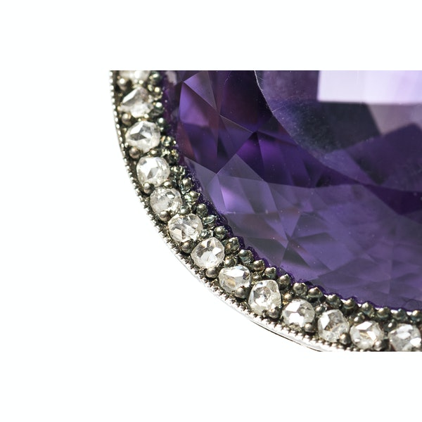 Victorian Amethyst Brooch with Diamond Surround, English circa 1890. - image 2