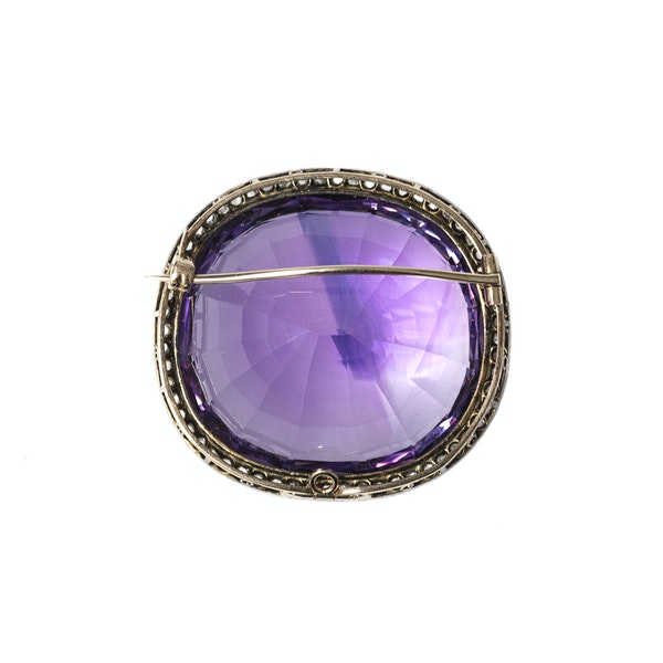Victorian Amethyst Brooch with Diamond Surround, English circa 1890. - image 4