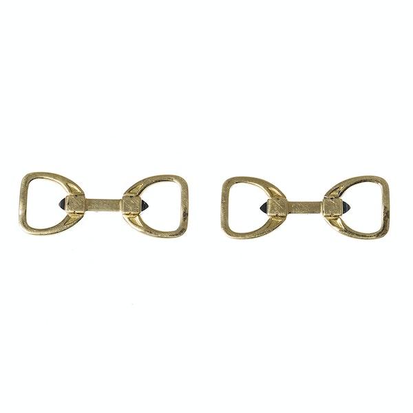 Vintage Hermès Stirrup Cufflinks in 18 Karat Gold with Sapphire, French circa 1950. - image 1