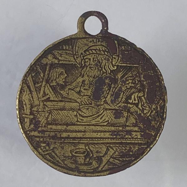 Fourteenth century engraved brass pendant - image 2