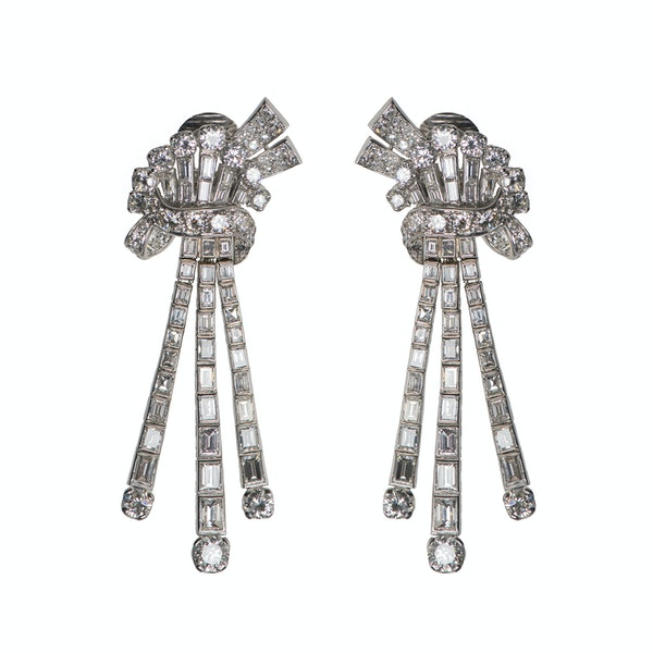 Vintage Day & Night Diamond Pendant Earrings in Platinum, English circa 1940. - image 2