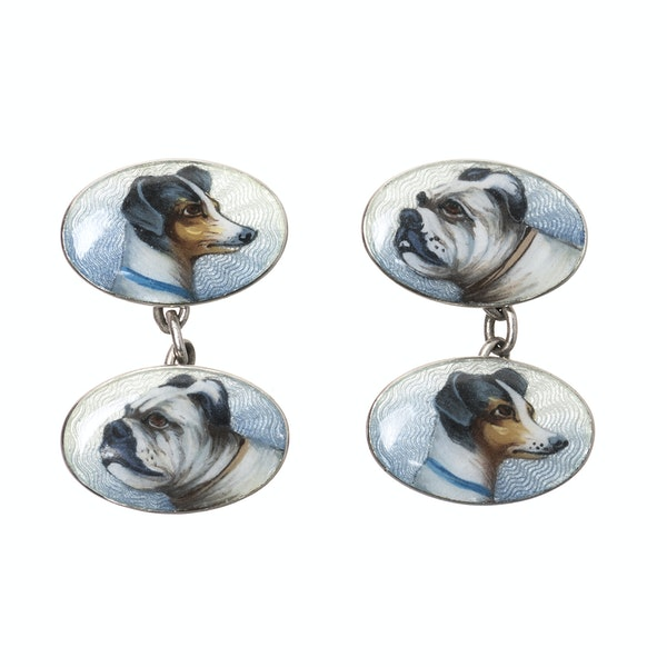 Antique Cufflinks in Sterling Silver with Coloured Enamel Portraits of a pair of Dogs, German circa 1910. - image 1