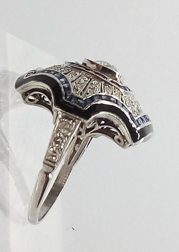 Deco Domed Sapphire and Diamond Sunburst Ring - image 4
