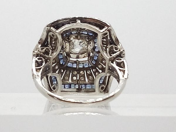 Deco Domed Sapphire and Diamond Sunburst Ring - image 5