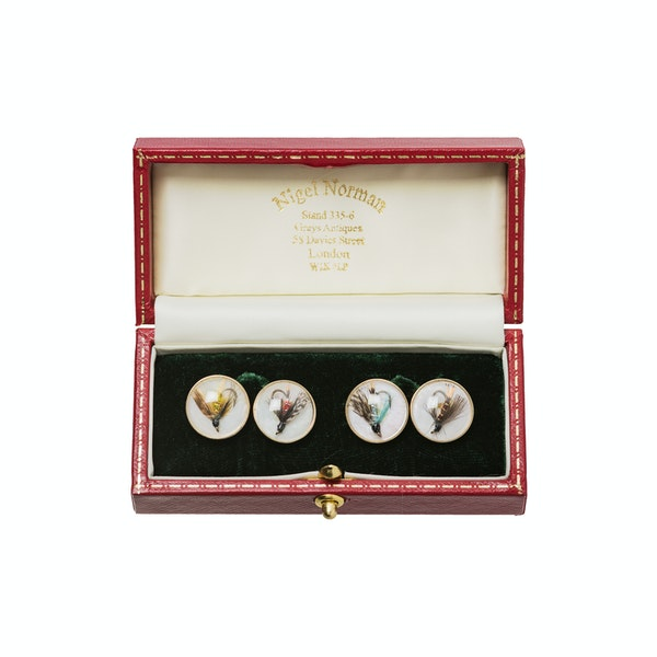 Vintage Crystal Cufflinks of Trout Flies on Mother of Pearl and Gold, English made 1997. - image 2