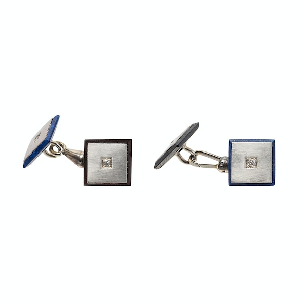 Antique Square Cufflinks in Platinum with Diamonds, Onyx and Lapis Lazuli, Austrian circa 1920. - image 4
