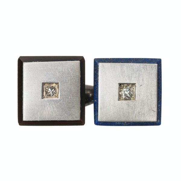 Antique Square Cufflinks in Platinum with Diamonds, Onyx and Lapis Lazuli, Austrian circa 1920. - image 2