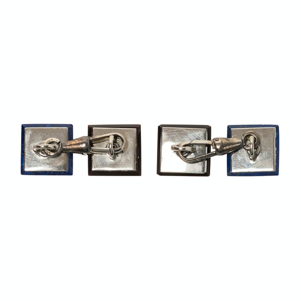 Antique Square Cufflinks in Platinum with Diamonds, Onyx and Lapis Lazuli, Austrian circa 1920. - image 5