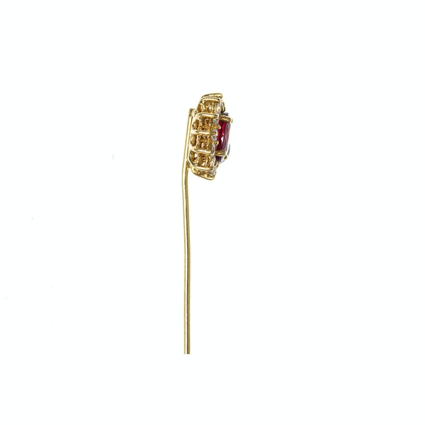Vintage Siam Ruby Tie Pin with Diamonds in 18 Carat Gold, English circa 1970. - image 4