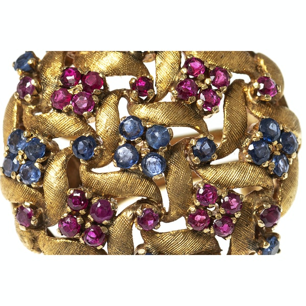 Vintage Earrings in a Textured 18 Karat Gold of Woven Design with Sapphires & Rubies, *Italian circa 1950. - image 2