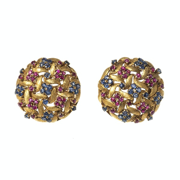 Vintage Earrings in a Textured 18 Karat Gold of Woven Design with Sapphires & Rubies, *Italian circa 1950. - image 1