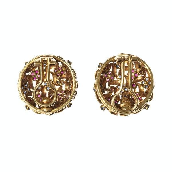 Vintage Earrings in a Textured 18 Karat Gold of Woven Design with Sapphires & Rubies, *Italian circa 1950. - image 4