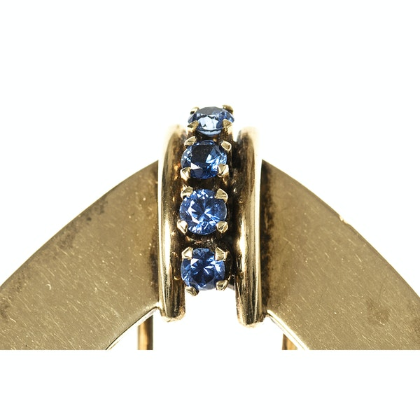 Vintage Tiffany Pair of Clip Brooches in 14 Karat Gold with Sapphires, New York circa 1950. - image 2