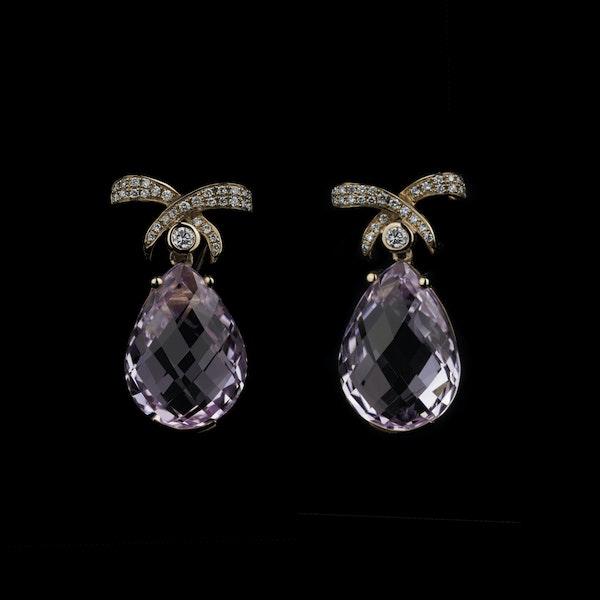 18K yellow gold 35.00ct Kunzite and 1.25ct Diamond Earrings - image 1