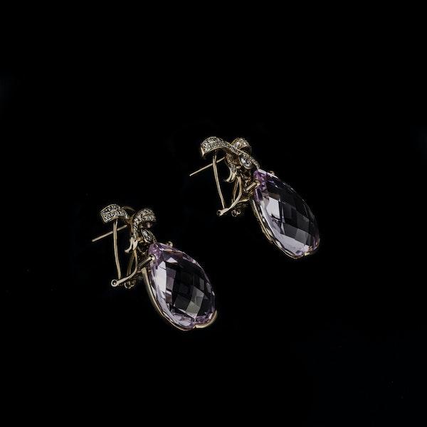 18K yellow gold 35.00ct Kunzite and 1.25ct Diamond Earrings - image 2